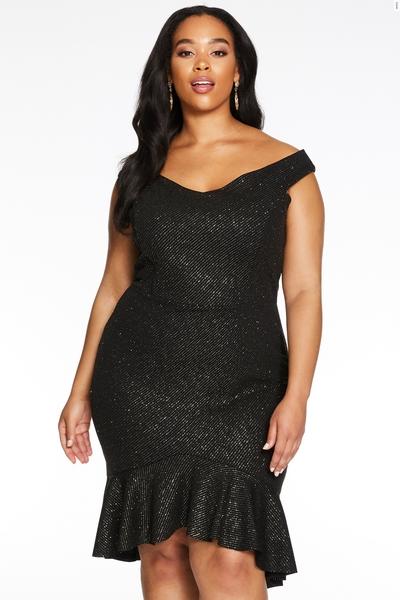 Curve Black Shimmer Bardot Dip Hem Midi Dress